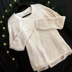 White oversize pullover sweater